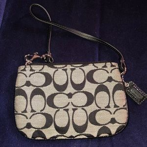 Coach wristlet black and grey patent leather small